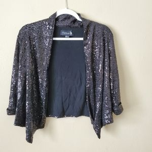 Forever 21 Sequin Sparkly Black Open Open Cardigan